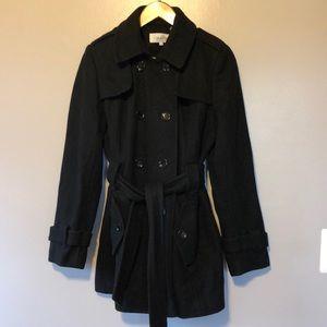 Calvin Klein Wool 6 Double Breasted Black Pea Coat